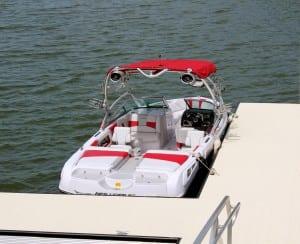 Red Ski Boat